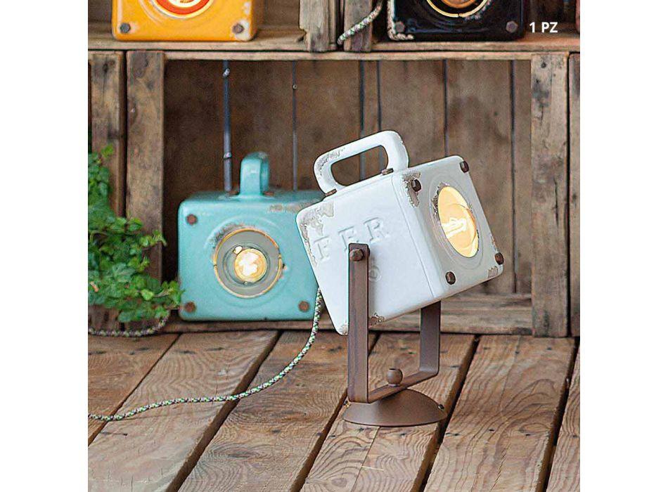 Applique da parete stile vintage-industriale in ceramica e ferro Julia