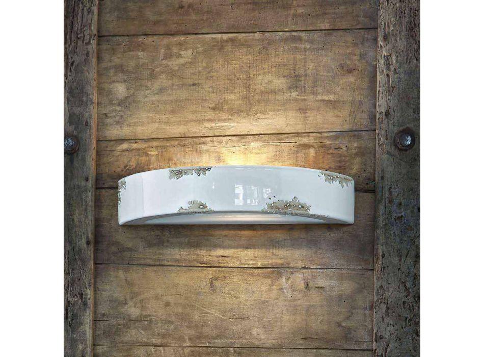 Applique da parete vintage a semiluna in ceramica Helen Ferroluce