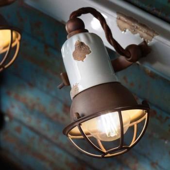 Applique design a tre faretti orientabili in ceramica e metallo Lacey
