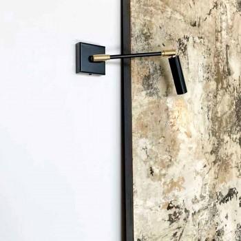 Applique Fatta a Mano in Ferro e Alluminio Nero Opaco Made in Italy - Velina