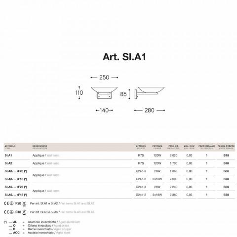Applique in fusione di ottone anticato e vetro Allegro