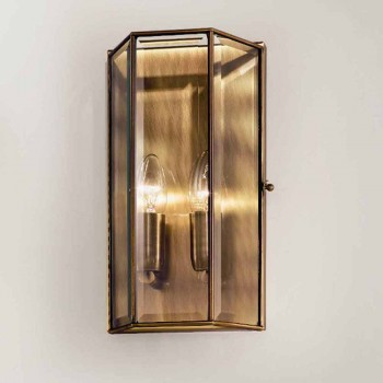Applique in Ottone e Vetro a 2 Luci Design Artigianale - Rilegato by Il Fanale