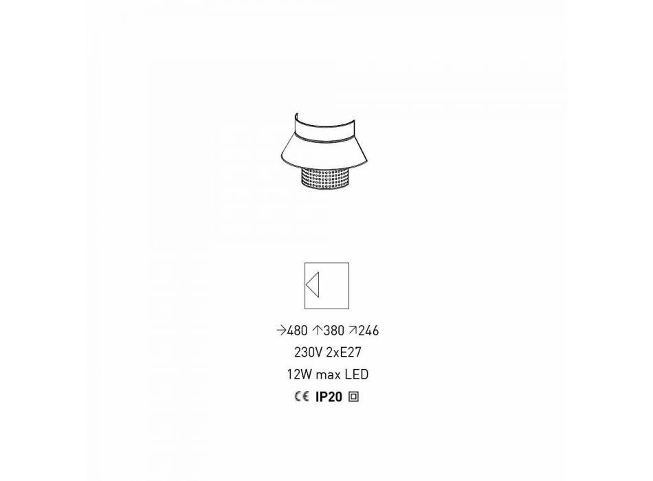 Applique in Tessuto Bianco e Grigio e Rattan di Design Made in Italy - Sailor