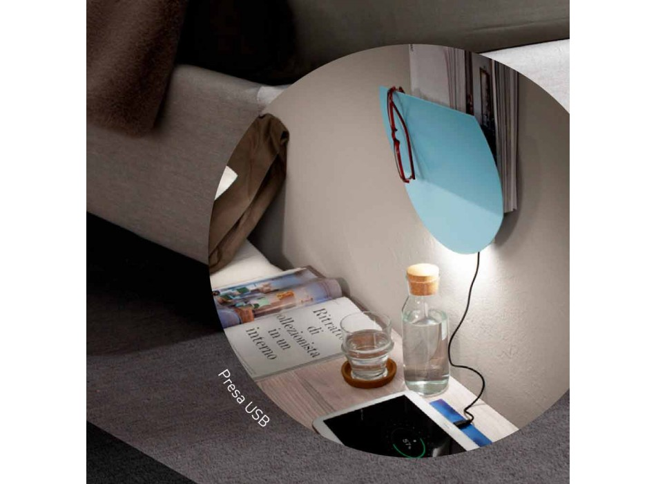 Applique Moderna con Vano per Riviste, USB e Luce LED Made in Italy - Foster