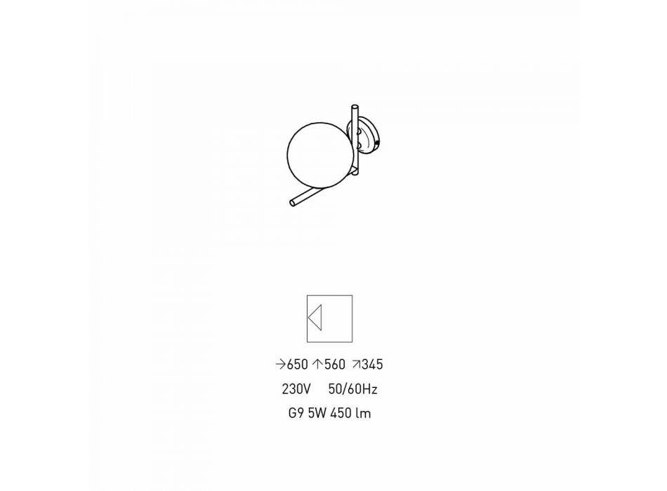Applique Moderna in Metallo Finitura Ottone e Vetro Opale Made in Italy - Carima