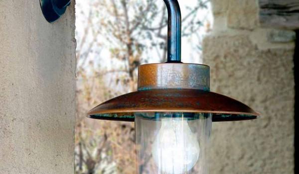 Applique nabucco lampada a parete in rame vetro ottone anticato