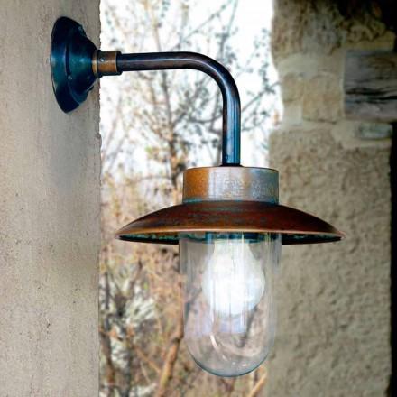 Applique Nabucco, lampada a parete in rame, vetro, ottone