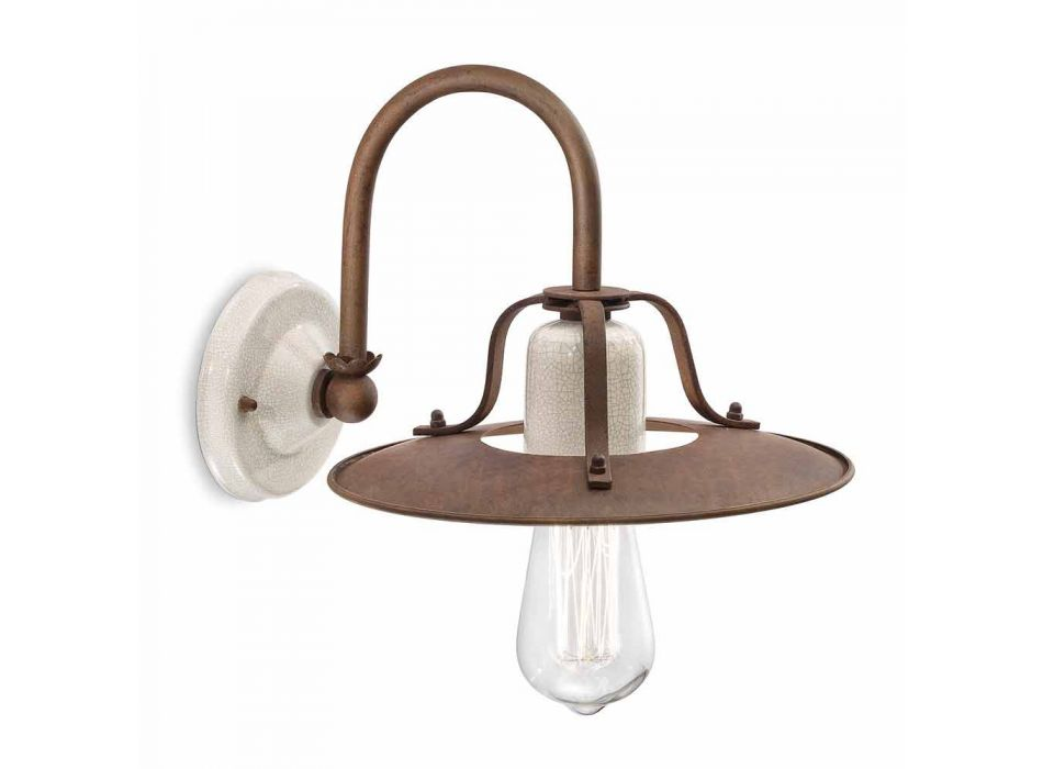 Applique stile industriale in metallo e ceramica Ferroluce