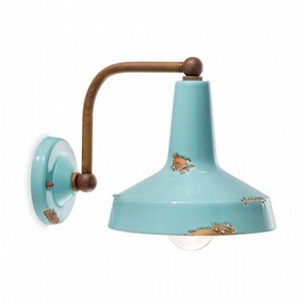 Applique vintage a faretto in ceramica fatta a mano Sandra Ferroluce