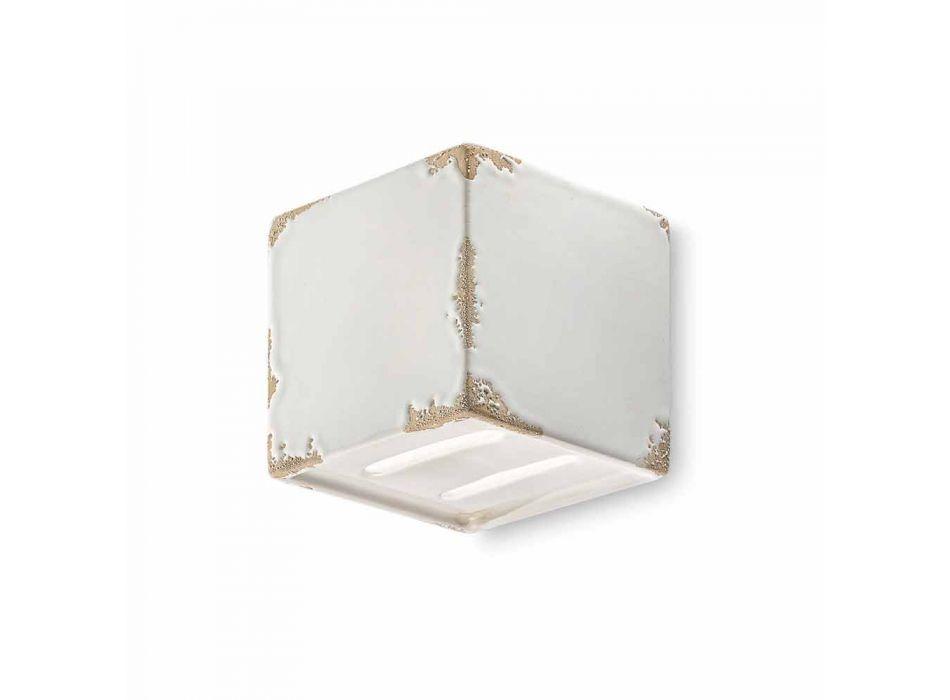 Applique vintage a forma di cubo in ceramica Connie Ferroluce