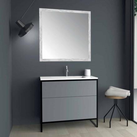 Arredo Bagno a Terra Base Lavabo e Specchio di Design Made in Italy - Cizco
