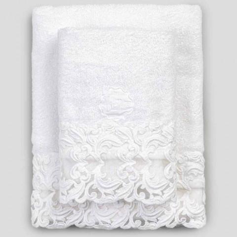 Asciugamani di Spugna in Cotone Bianchi con Pizzo 2 Pezzi Lusso Italiano - Sposi