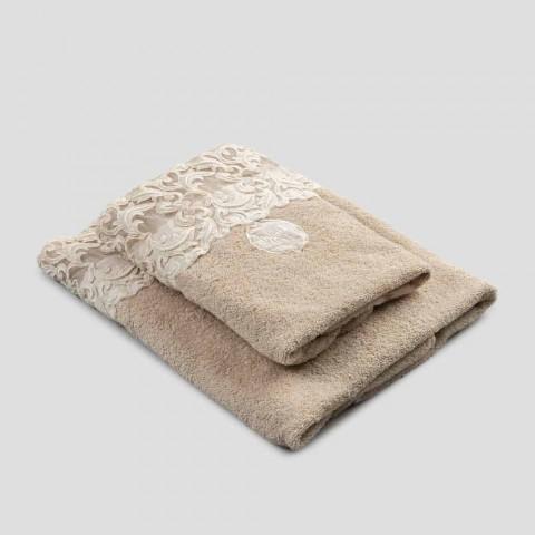 Asciugamani Viso e Ospite in Spugna Cotone con Pizzo Farnese 2 Pezzi - Sposi
