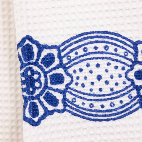Asciugamano Artigianale Italiano con Stampa Realizzata a Mano in Cotone - Marchi