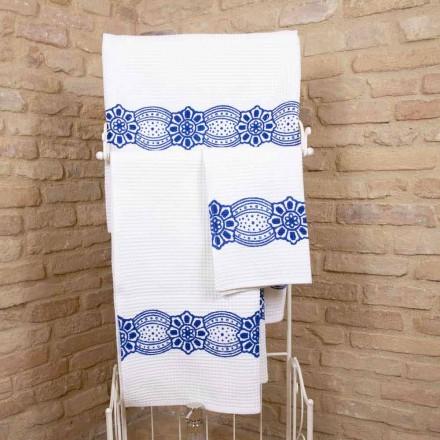 Asciugamano Artigianale Italiano con Stampa Realizzata a Mano in Cotone