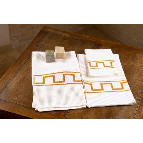Asciugamano d'Arte Stampato a Mano in Cotone Pezzo Unico Italiano - Marchi
