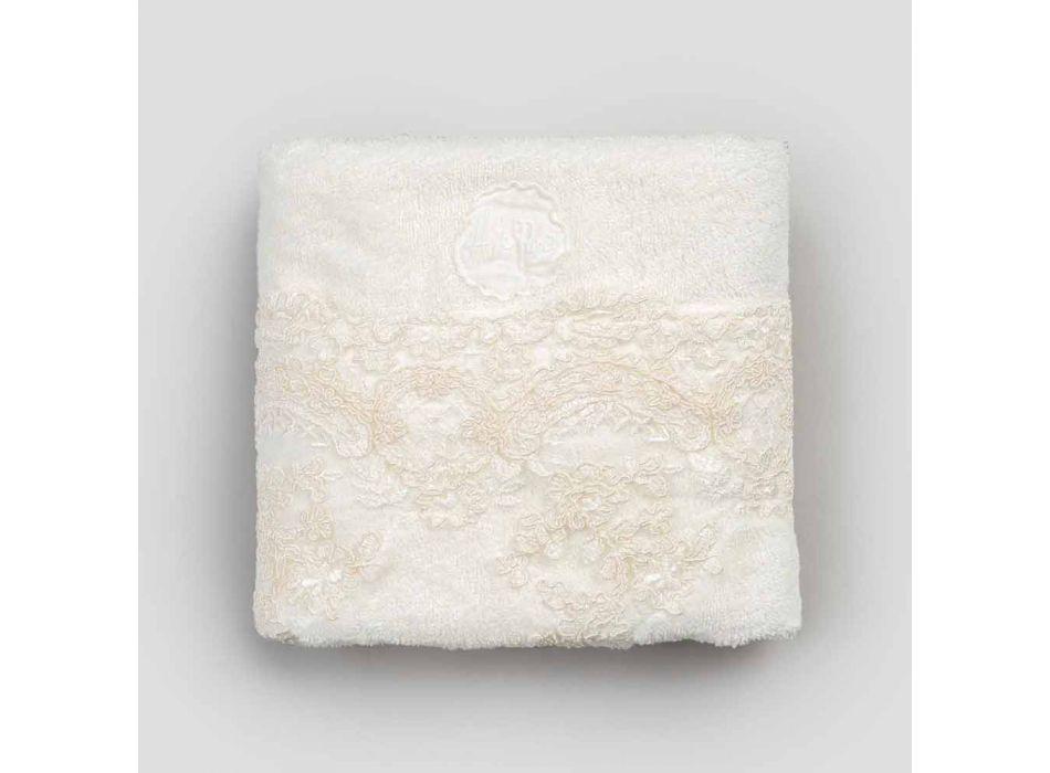 Asciugamano da Viso in Spugna di Cotone con Pizzo e Bordo Misto Lino - Ginova