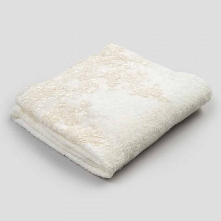 2 Asciugamani da Viso in Spugna di Cotone con Pizzo e Bordo Misto Lino - Ginova