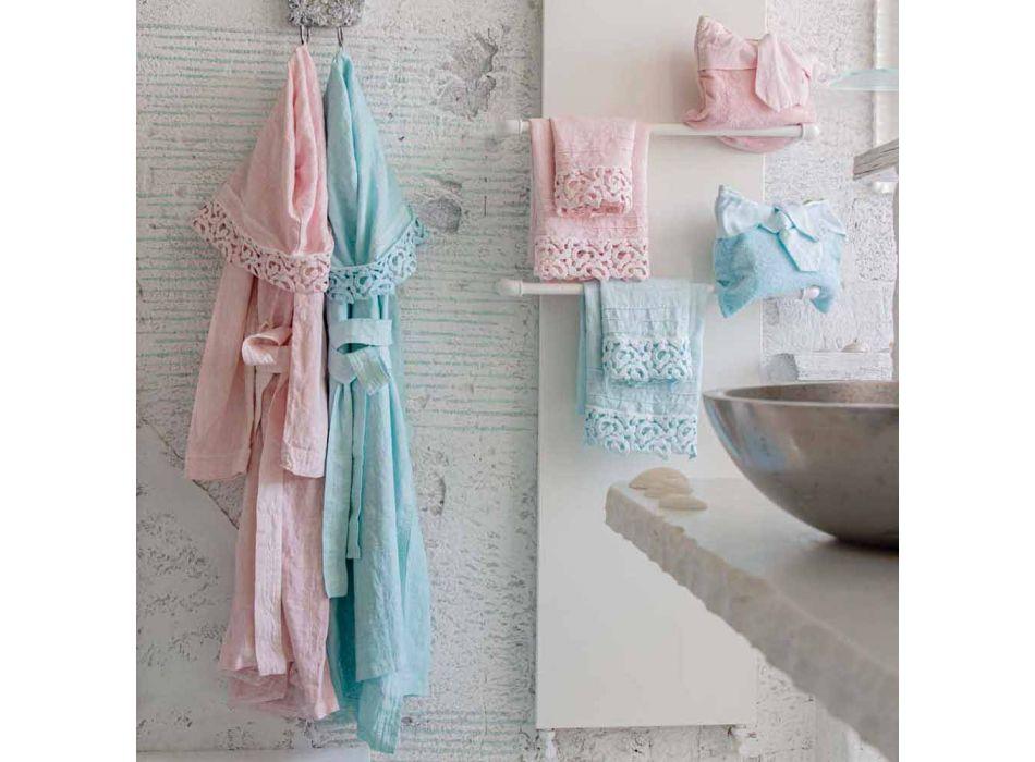 Asciugamano Ospite in Spugna Cotone con Pizzo Poema 2 Pezzi e 2 Colori - Castle