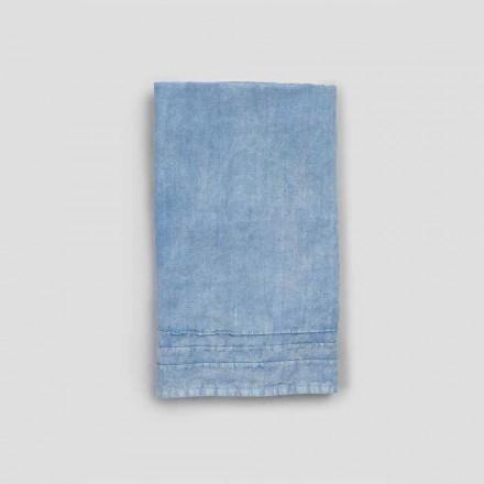 2 Asciugamani Ospite in Lino Pesante Azzurro Design di Lusso Italiano - Jojoba