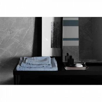 Asciugamano per Ospite in Lino Pesante Azzurro Design di Lusso Italiano - Jojoba