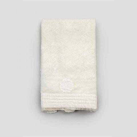 Asciugamano per Ospite in Spugna di Cotone e Bordo Misto Lino con Pizzo - Ginova