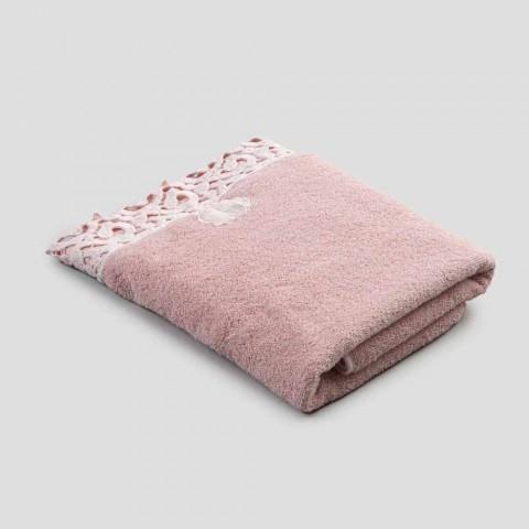 Asciugamano Viso in Spugna Cotone con Pizzo Poema 2 Pezzi 2 Colori - Castle