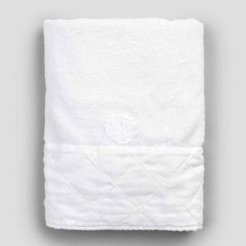Asciugamano Viso in Spugna di Cotone Bianco con Decoro Geometrico - Gimmy
