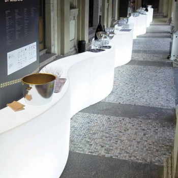 Bancone bar modulare Slide Snack Bar luminoso bianco fatto in Italia