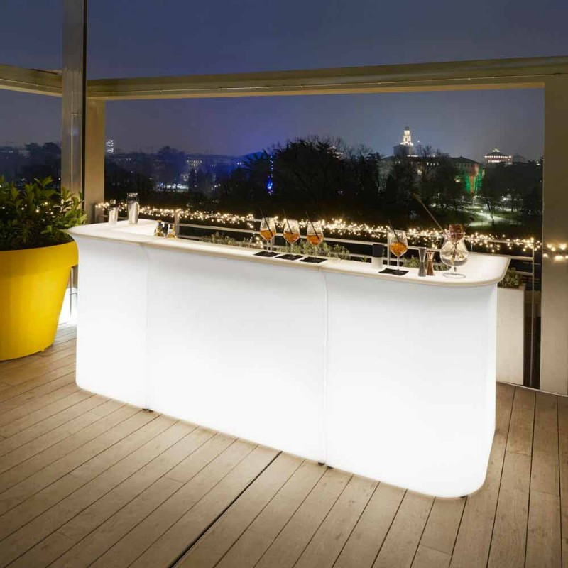 Bancone stile moderno da bar Slide Break Line luminoso  made in Italy