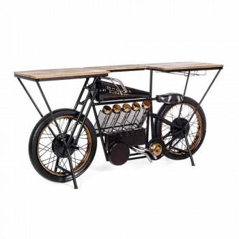 Bar Consolle di Design Moderno in Legno di Mango e Moto in Acciaio - Scalogno