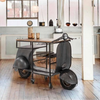 Bar Consolle in Legno di Mango e Vespa in Acciaio di Design Moderno - Scalogno