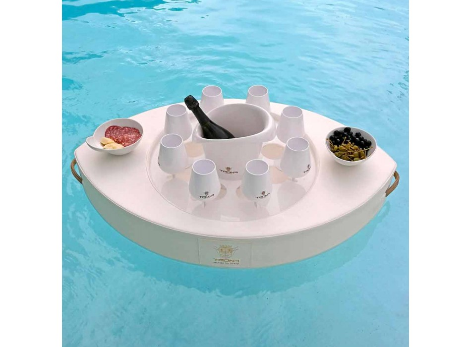 Bar galleggiante in ecopelle bianca nautica Trona fatto in Italia