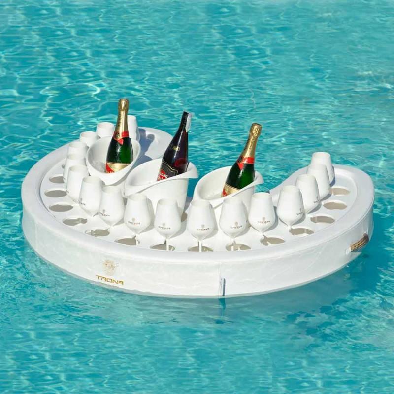 Bar galleggiante Trona in ecopelle nautica bianca e plexiglass