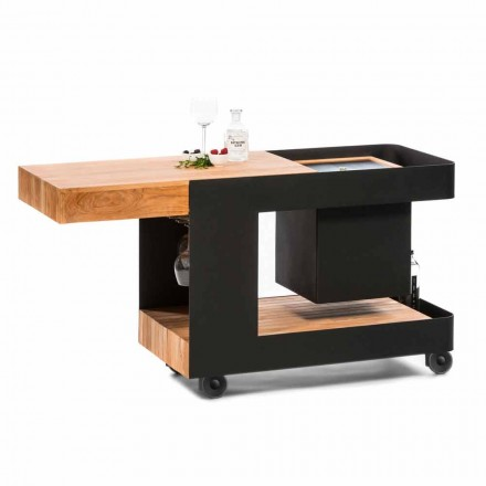 Bar Mobile Moderno su Ruote Design con Tavolo in Legno e Acciaio - Giancalliope