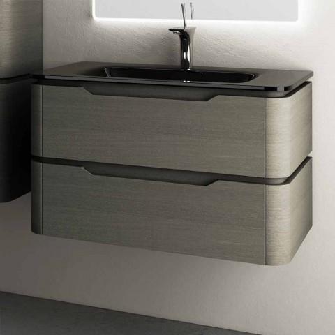 Base portalavabo sospesa design moderno 85x55x55cm legno laccato Arya