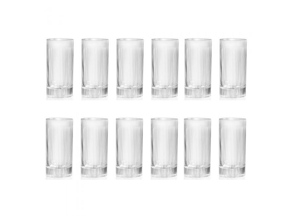 Bicchiere Bibita Eco Cristallo Effetto Striato, Linea Lusso 12 Pz - Davio