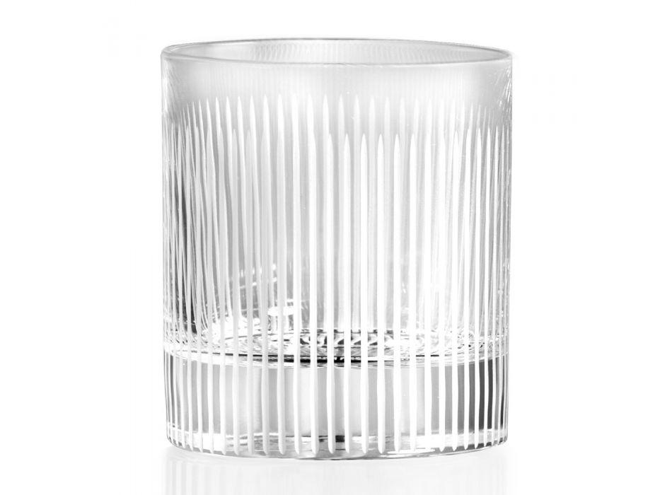 Bicchiere Dof in Eco Cristallo Effetto Striato, Linea Lusso 12 Pz - Davio