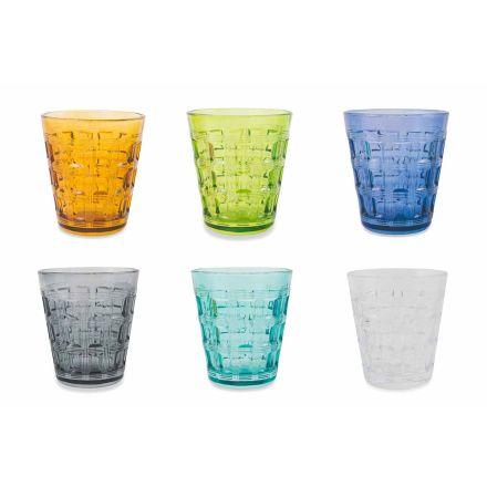 Bicchieri Acqua di Vetro Decorato Colorato Servizio 12 Pezzi - Intreccio