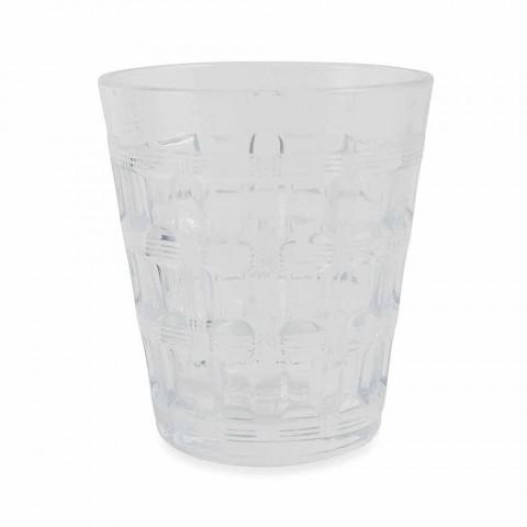 Bicchieri Acqua di Vetro Decorato Colorato Servizio 6 Pezzi - Intreccio