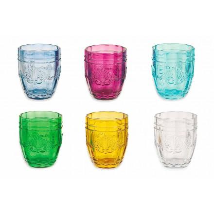 Bicchieri Colorati ed Eleganti in Vetro Servizio da 12 Pezzi per Acqua - Vite