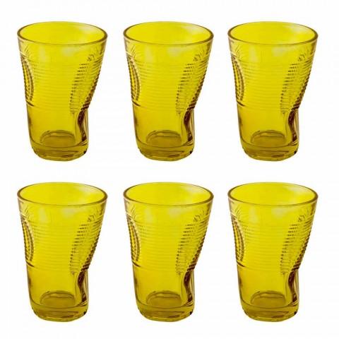 Bicchieri da Cocktail in Vetro Colorato 6 Pezzi di Design Accartocciato - Sarabi