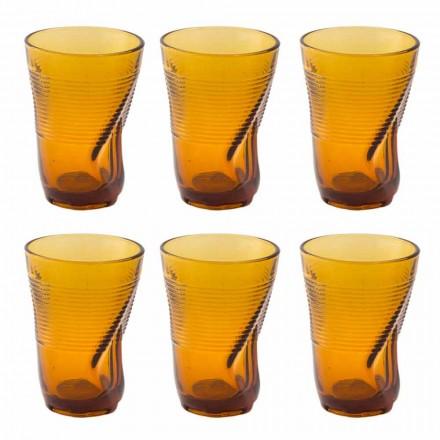 Bicchieri da Cocktail in Vetro Colorato 12 Pezzi di Design Accartocciato - Sarabi