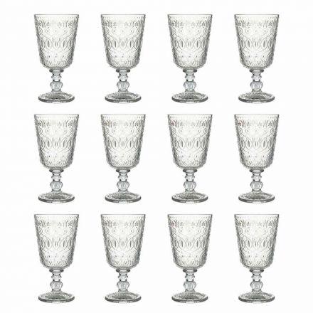 Bicchieri da Vino in Vetro Decorato Trasparente 12 Calici di Design - Maroccobic