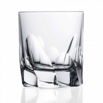 Bicchieri da Whisky o Acqua in Cristallo Decorato Design Dof 12 Pezzi - Titanio