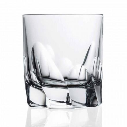 12 Bicchieri da Whisky in Cristallo Decorato, Design Dof Linea Lusso - Titanio