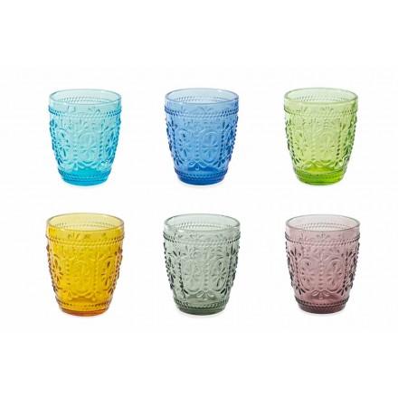 Bicchieri Decorati e Colorati Servizio da Acqua 12 Pezzi - Pastello-Palazzo