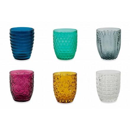 Bicchieri Decorati in Vetro Colorati Moderni Servizio da Acqua 12 Pezzi - Mix