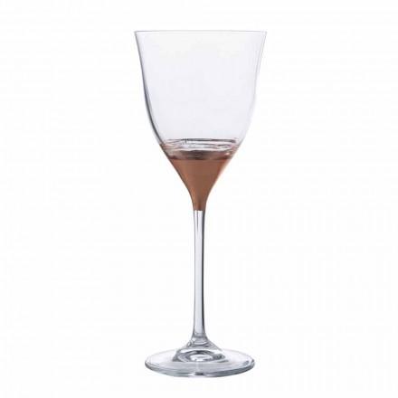12 Calici Acqua in Cristallo Decorato Bronzo, Oro o Platino Linea Lusso - Soffio