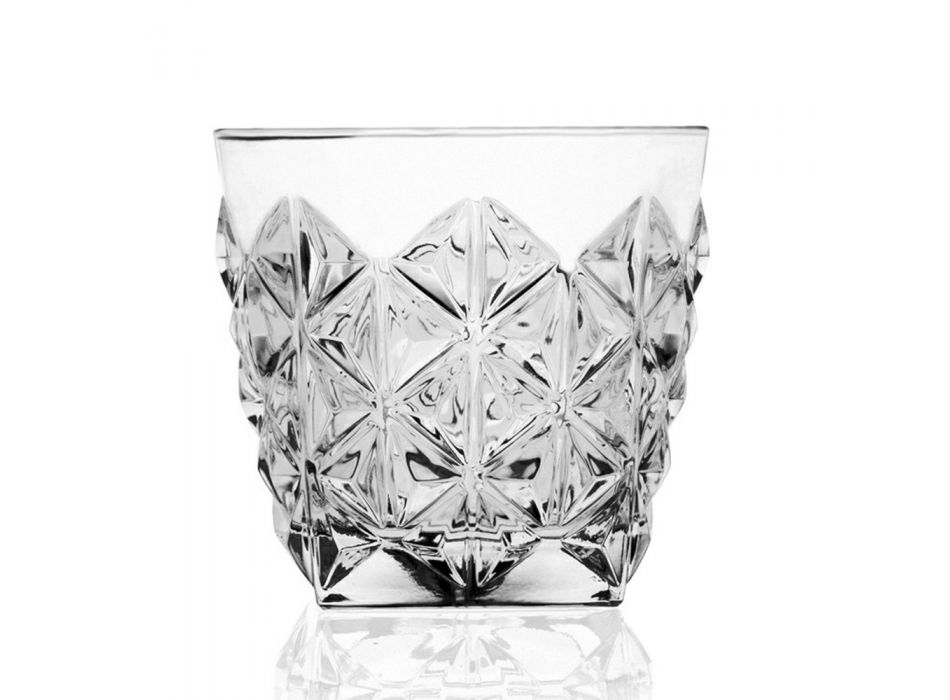 Bicchieri Double Old Fashioned Decorati in Eco Cristallo 12 Pezzi - Rebus